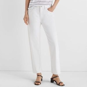 Club Monaco White Relaxed Slim Straight Crop Jeans